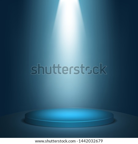 Blue round winner podium background. Stage with studio lights for awards ceremony.  spotlights illuminate. Vector illustration.