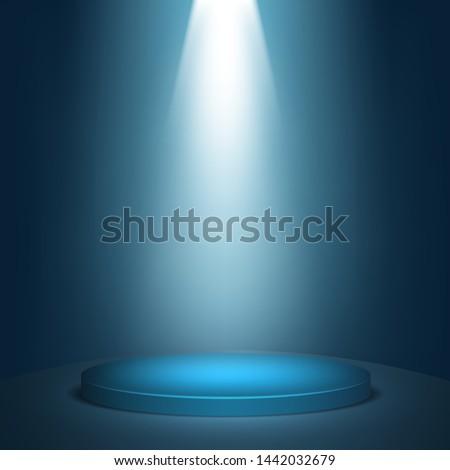 Blue round winner podium background. Stage with studio lights for awards ceremony.  spotlights illuminate. Vector illustration.