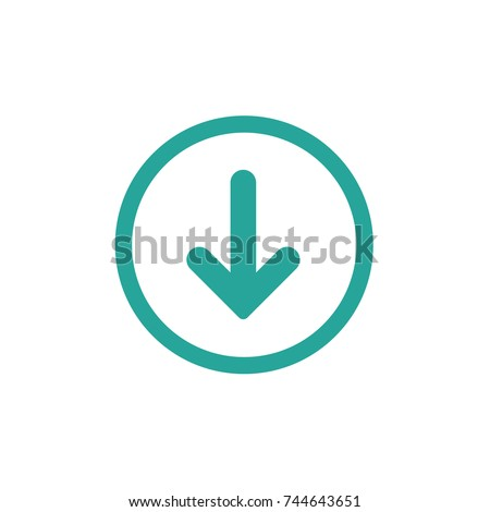 blue rounded arrow down in blue circle icon.  flat download sign isolated on white. point down button. south sign.