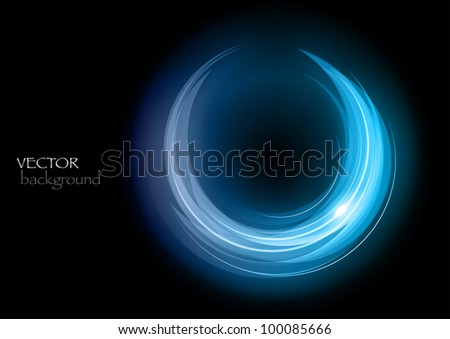 blue rounded shape on the black