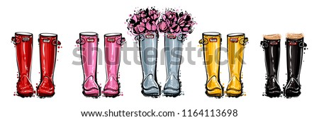 Blue rubber boots with flowers and red, black, yellow, pink hunter wellies. Fashion boot shoe for any weather. Hand drawn sketch for decoration seasonal celebration, greeting card or banner.