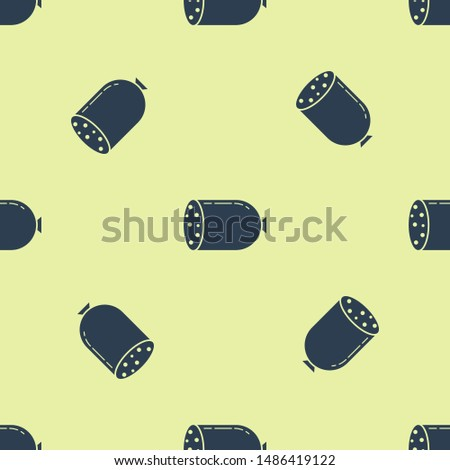 Blue Salami sausage icon isolated seamless pattern on yellow background. Meat delicatessen product.  Vector Illustration