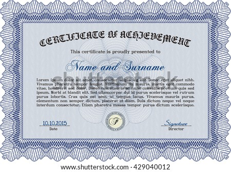 Blue Sample Certificate. Artistry design. With quality background. Vector pattern that is used in money and certificate.