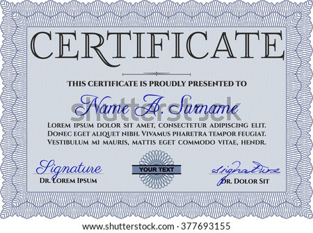 Blue Sample certificate or diploma. With complex linear background. Elegant design. Vector certificate template.