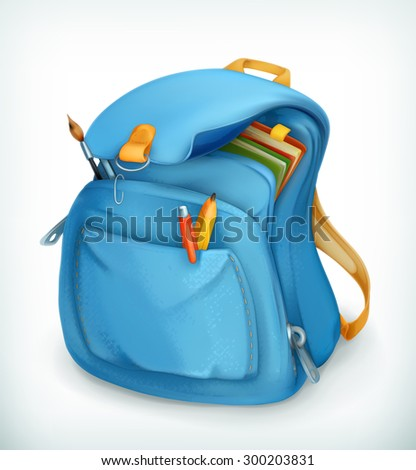 blue school bag  vector icon
