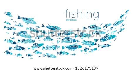 Blue school fish on white background. simple concept vector illustration for card, header, invitation, poster, social media, post publication.  ストックフォト ©