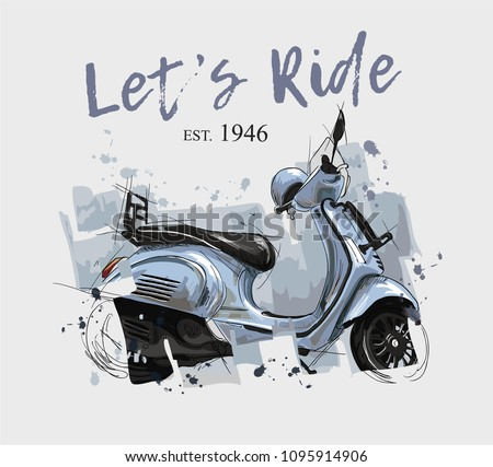 blue scooter illustration with slogan