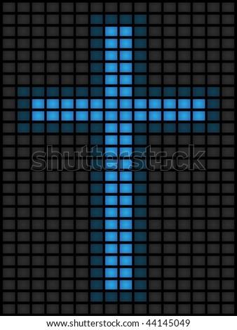 Blue screens of death form a cross - stock vector