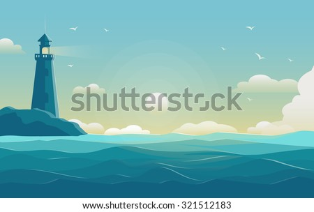 Stock Photo blue sea background with waves and lighthouse. Vector Illustration