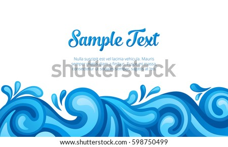 Blue sea waves background. Vector illustration.