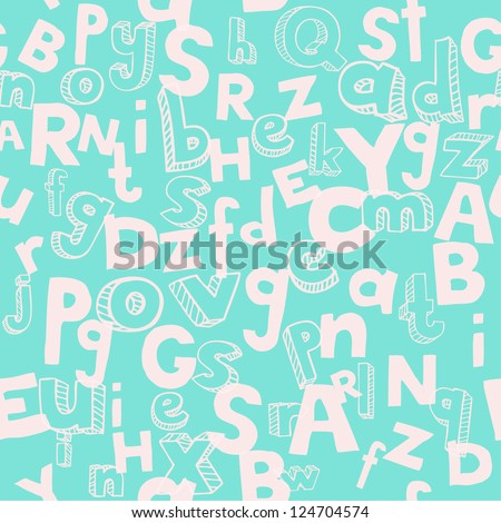 Blue seamless alphabet texture. Endless pattern with rose letters. template for design and decoration