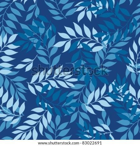 Blue seamless leaves pattern