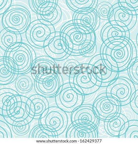 Blue seamless pattern from hand drawn circles - stock vector