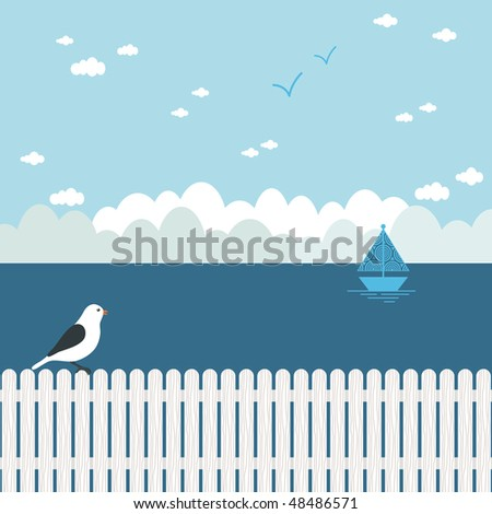 blue seascape with bird perched