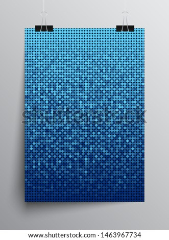 Blue sequins, glitters, sparkles, paillettes, mosaic background template. Abstract luxury halftone vector creative backdrop. Blue rounds with gradient trendy. Vibrant shiny dots glitter texture.