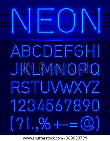 blue set neon font and symbols