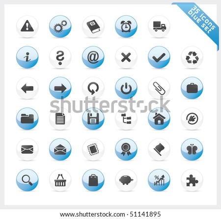 Blue set of 35 shiny icons on round button