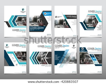 Blue set technology annual report brochure flyer design template vector, Leaflet cover presentation abstract geometric background, layout in A4 size #420883507