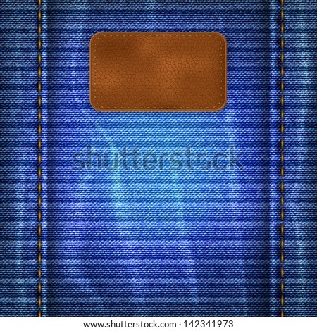 Blue shabby jeans background with leather label - stock vector