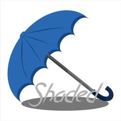 blue shade umbrella with a shadow underneath. logo vector