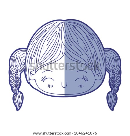 Stock Photo blue shading silhouette of kawaii head little girl with braided hair and facial expression happiness with closed eyes