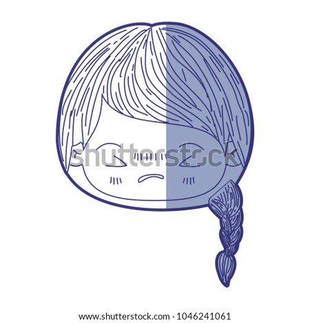 Stock Photo blue shading silhouette of kawaii head little girl with braided hair and facial expression angry with closed eyes