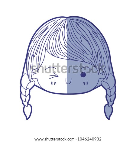 Stock Photo blue shading silhouette of kawaii head little girl with braided hair and facial expression wink eye
