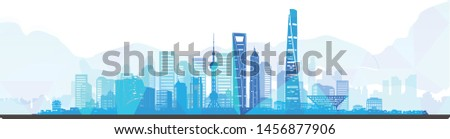 blue shanghai skyline, shanghai landmark buildings background,  vector illustration
