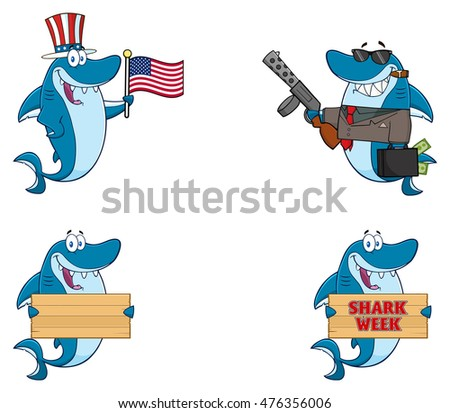 blue shark cartoon mascot