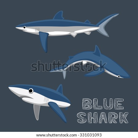 blue shark cartoon vector