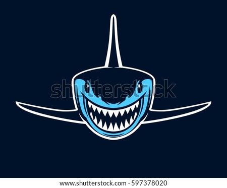 blue shark with open jaws on a