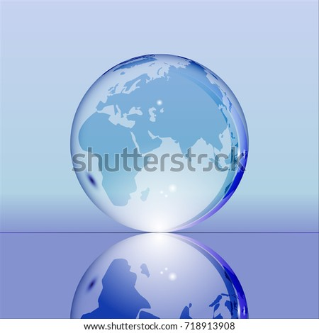 Stock Photo Blue shining transparent earth globe with Eurasia, Africa and Australia continents laying on glass surface and reflecting in it. Bright and shining design. Vector illustration.