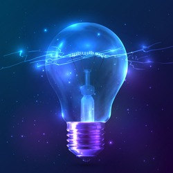 Blue shining vector bulb with lightning inside