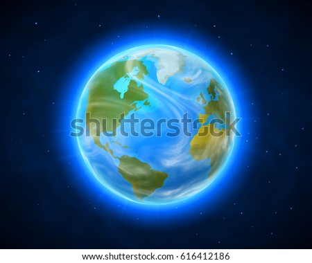 blue shining vector earth in
