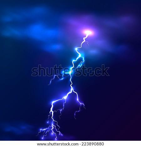 blue shining vector lightning