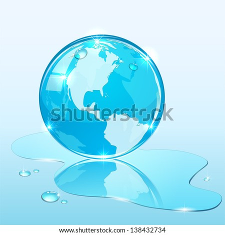 Blue shiny globe on water surface, illustration.