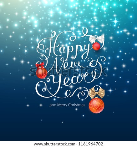 Blue shiny Happy New Year and Merry Christmas card with Christmas balls. Greeting card or festive poster template. Vector background. - Shutterstock ID 1161964702