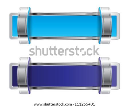Blue shiny metallic chrome vector badge with brackets