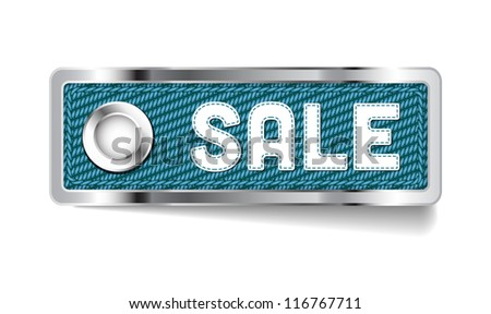 Blue shiny metallic chrome vector Sale tag with fabric and stitched letters