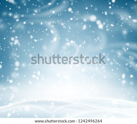 Blue shiny poster with winter landscape, snow and blizzard. Vector background. #1242496264