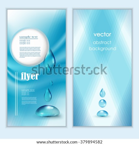 blue shiny water drops banners