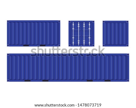 Blue Shipping Cargo Container for Logistics and Transportation Isolated On White Background Vector Illustration