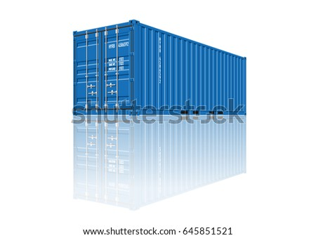 Blue Shipping Cargo Container for Logistics and Transportation on White Background