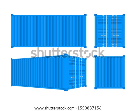 Blue Shipping Cargo Container Twenty and Forty feet. for Logistics and Transportation. Vector stock Illustration.