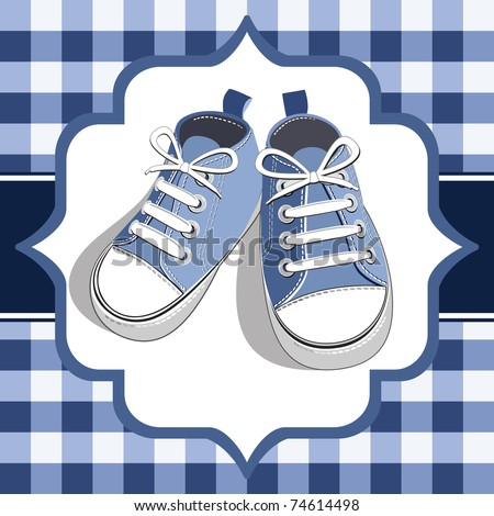 Blue shoes on a checkered background, blue childrens or young adult shoes, pair kids sneaker.