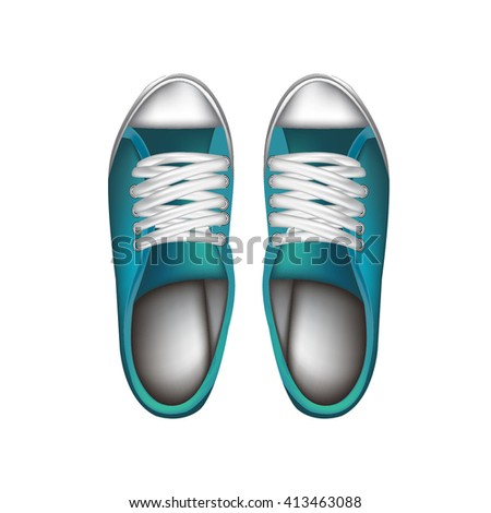 blue shoes on white background