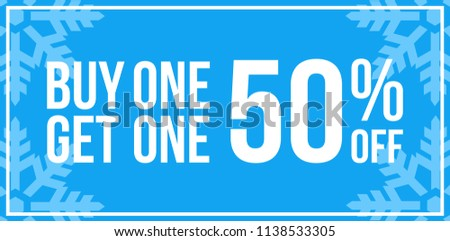 Blue Shop Vector Sign For A Buy One Get One 50% Off Clearance Horizontal Landscape