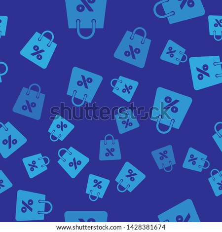 Blue Shoping bag with an inscription percent discount icon isolated seamless pattern on blue background. Handbag sign. Woman bag icon. Female handbag sign. Vector Illustration