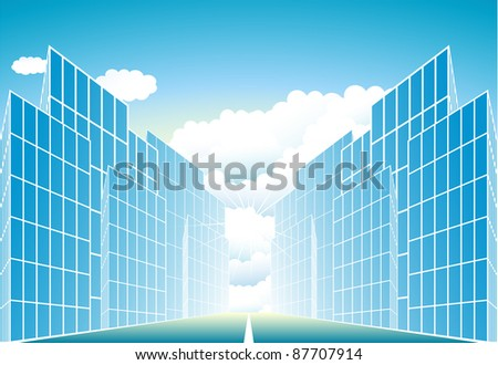 blue sign modern urban landscape with sun and cloud