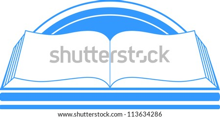 blue sign with book and sun
